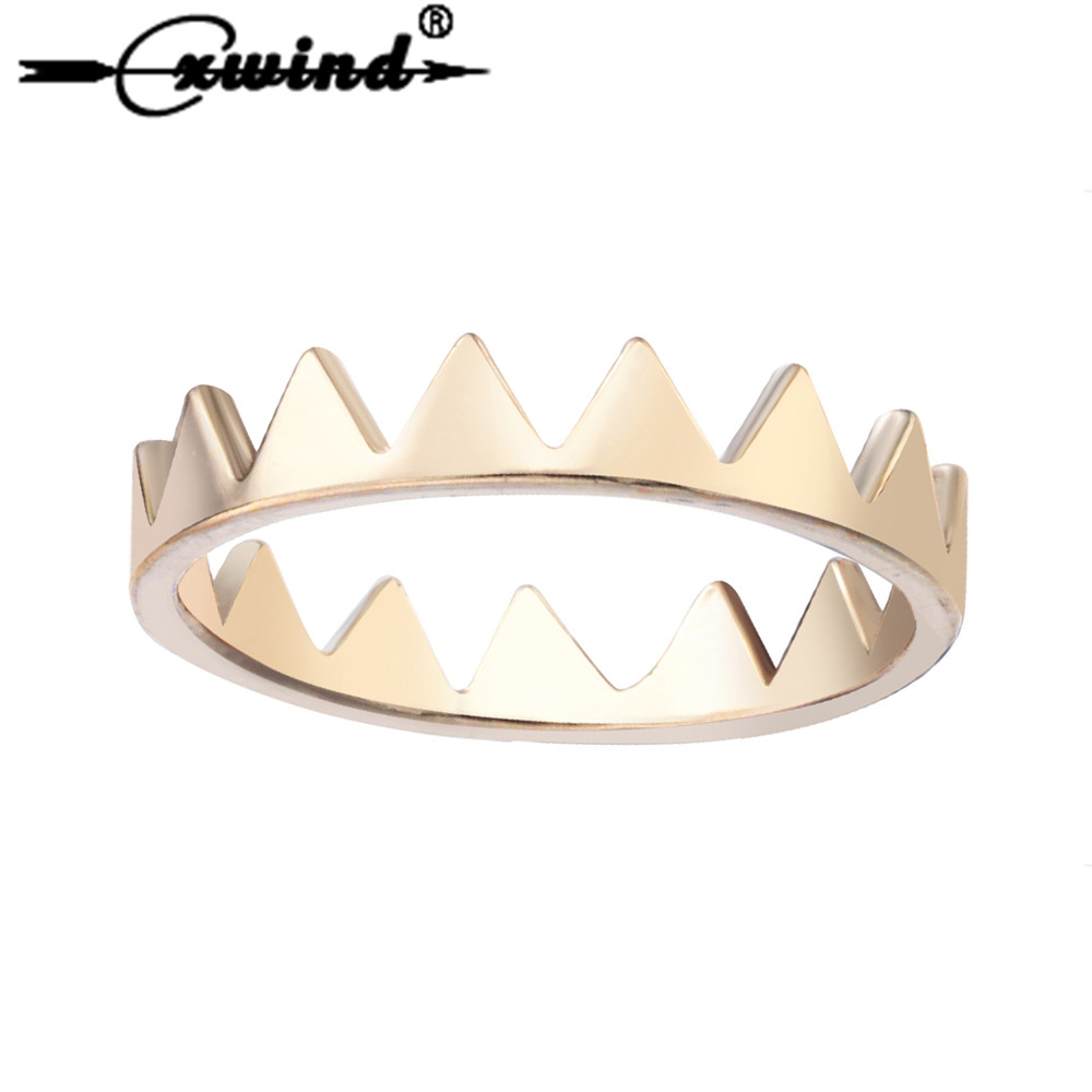 Cxwind Women Moutain Range Ring Fashion Jewelry Crown Triangle Wave Cocktail Rings for Women Girls Kids Xmas Gift