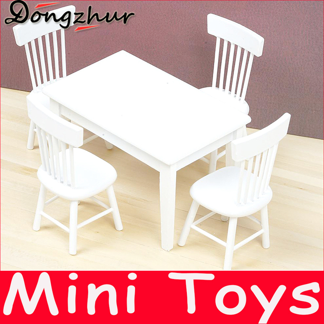 Dongzhur New Chalet Restaurant Combination Dining Table Chair Dollhouse  Miniature Furniture Doll House Wooden Toy House