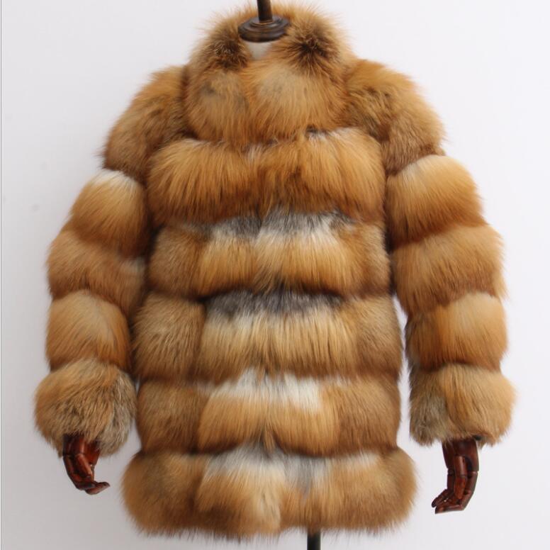 Nouvelle arrivée 2018 d'hiver de femmes réel red fox fur coat avec chaud col de fourrure femelle élégant outwear veste de fourrure