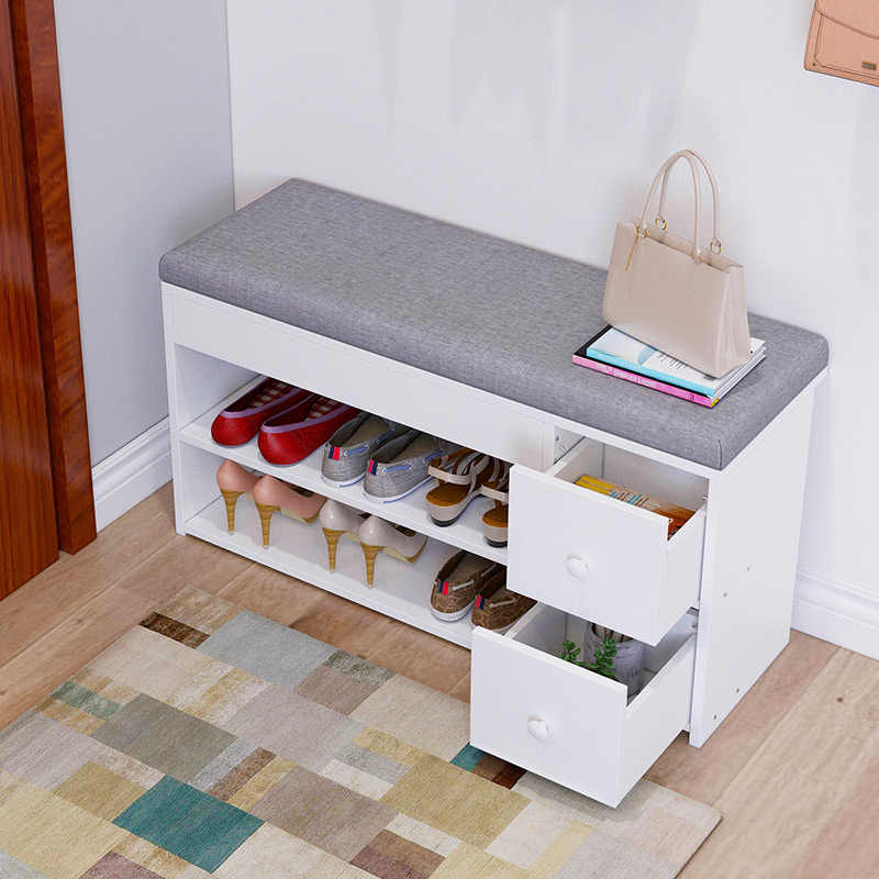 Nordic Creative Entrance Shoe Bench Storage Stool Multi-function Double-layer Shoe Rack Living Room Sofa Stool