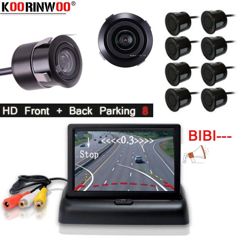 Koorinwoo Парктроник, 18,5 мм, круглая камера, динамическая траектория, датчик парковки, передний, задний светильник, tft экран, 4 зонда