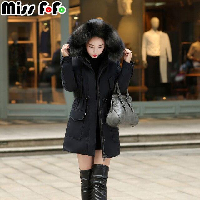 MissFoFo 2019 Новая модная женская пуховая куртка с капюшоном большой меховой воротник тонкий черный размер S-XXL хорошее тепло Качество