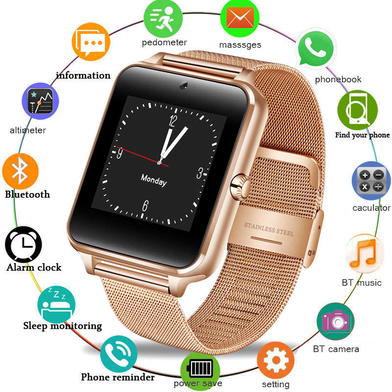 OGEDA 2019 di Smart Watch Z60 Cinturino In Metallo Bluetooth Da Polso Smartwatch di Sostegno Sim Carta di TF Android e IOS Orologio Multi- lingue PK GT08