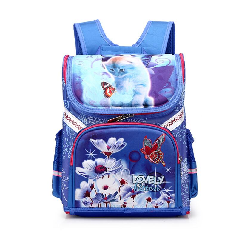 3226c6a768a Girls School Backpacks Children School Bags Orthopedic Backpack Cat  Butterfly Bag For Girl Kids ...