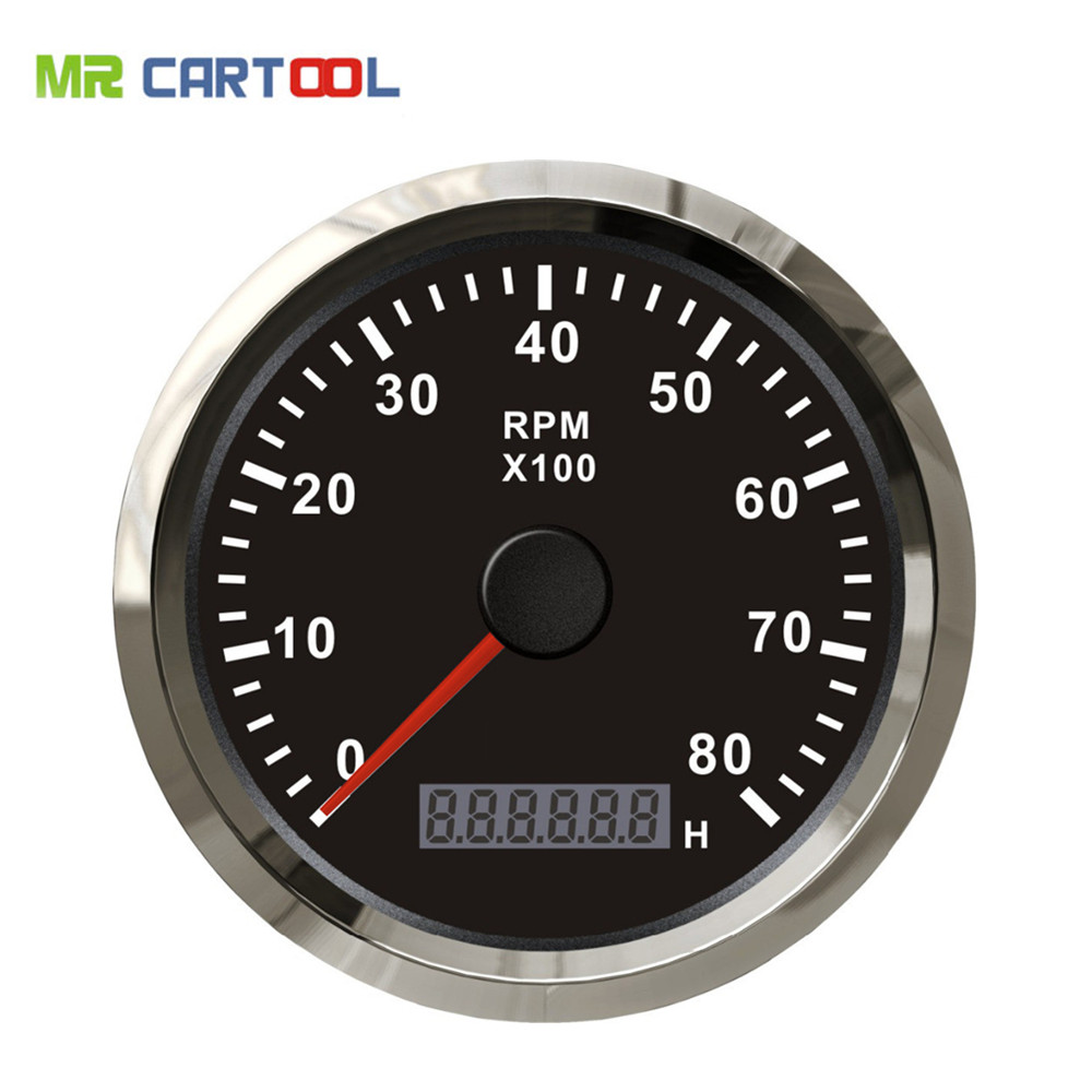 85mm Tachometer gauge tacho black faceplate stainless steel bezel boat car tachometer 0-8000rpm for gas engine