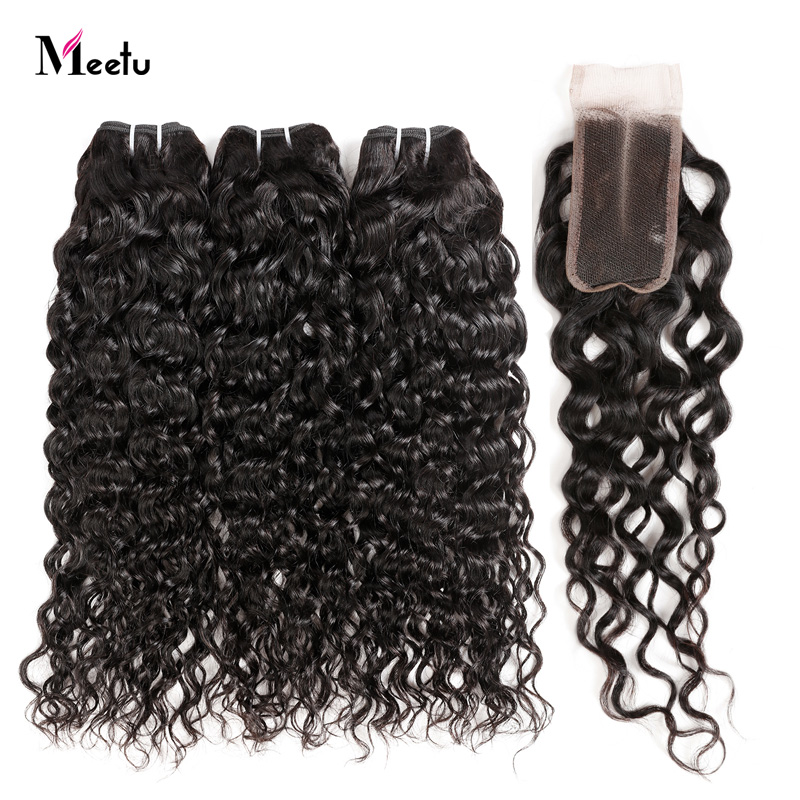 Peruvian Water Wave Sew In With Closure 2 3 Hair Bundles With Closure 20Inch Meetu Non