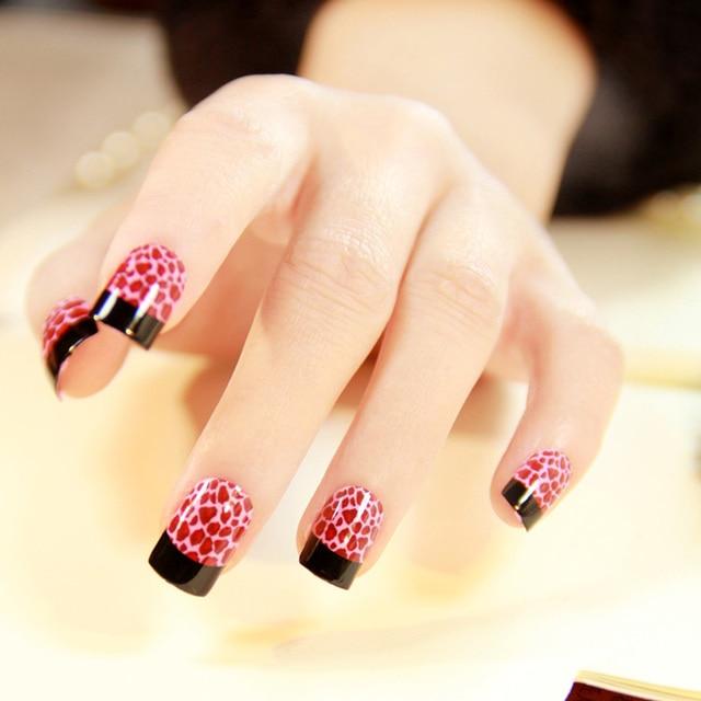 24pcs Super Creative French Pink Leopard False Nails Short Square