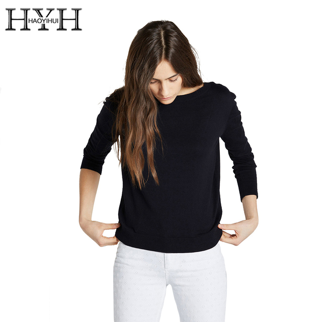 HYH HAOYIHUI Black Basic Sweater Women Bow Back Backless Pullover Ladies Casual Sweet Loose Knitting Sweater Female