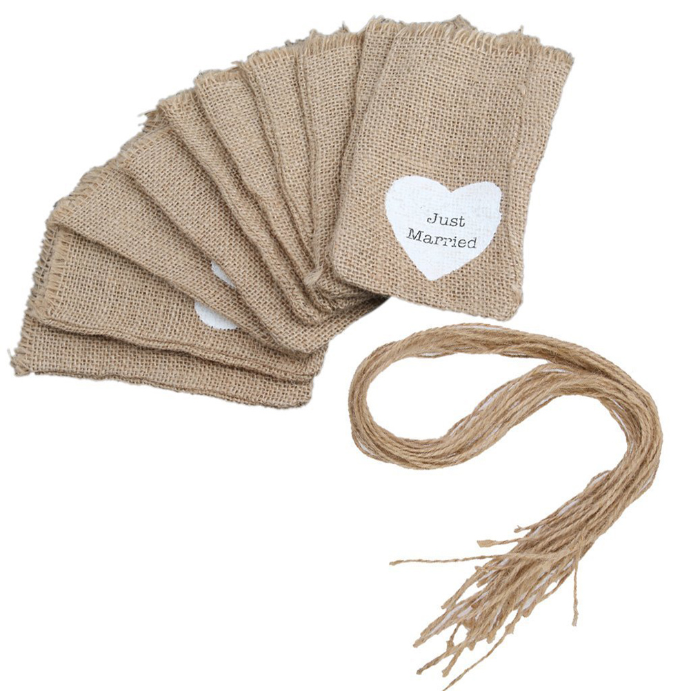 10pcs Rustic Wedding Favor Burlap Bags Jute Sack Candy Pouch with ...