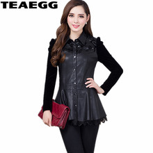 TEAEGG Plus Size 5XL 6XL Spring Autumn PU Women Leather Jacket Coat Jaqueta Feminina De Couro Black AL682