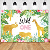 Wild One Birthday Backdrop Jungle Animals Party Photo Background Gold Safari Tropical Leaves Backdrops Cake Table Decorations discount