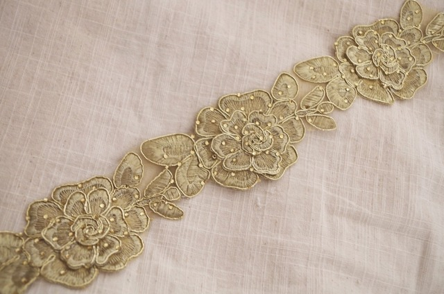 1 yard gold cord embroidered lace trim with gold rhinestone hot-fix beaded,  vintage