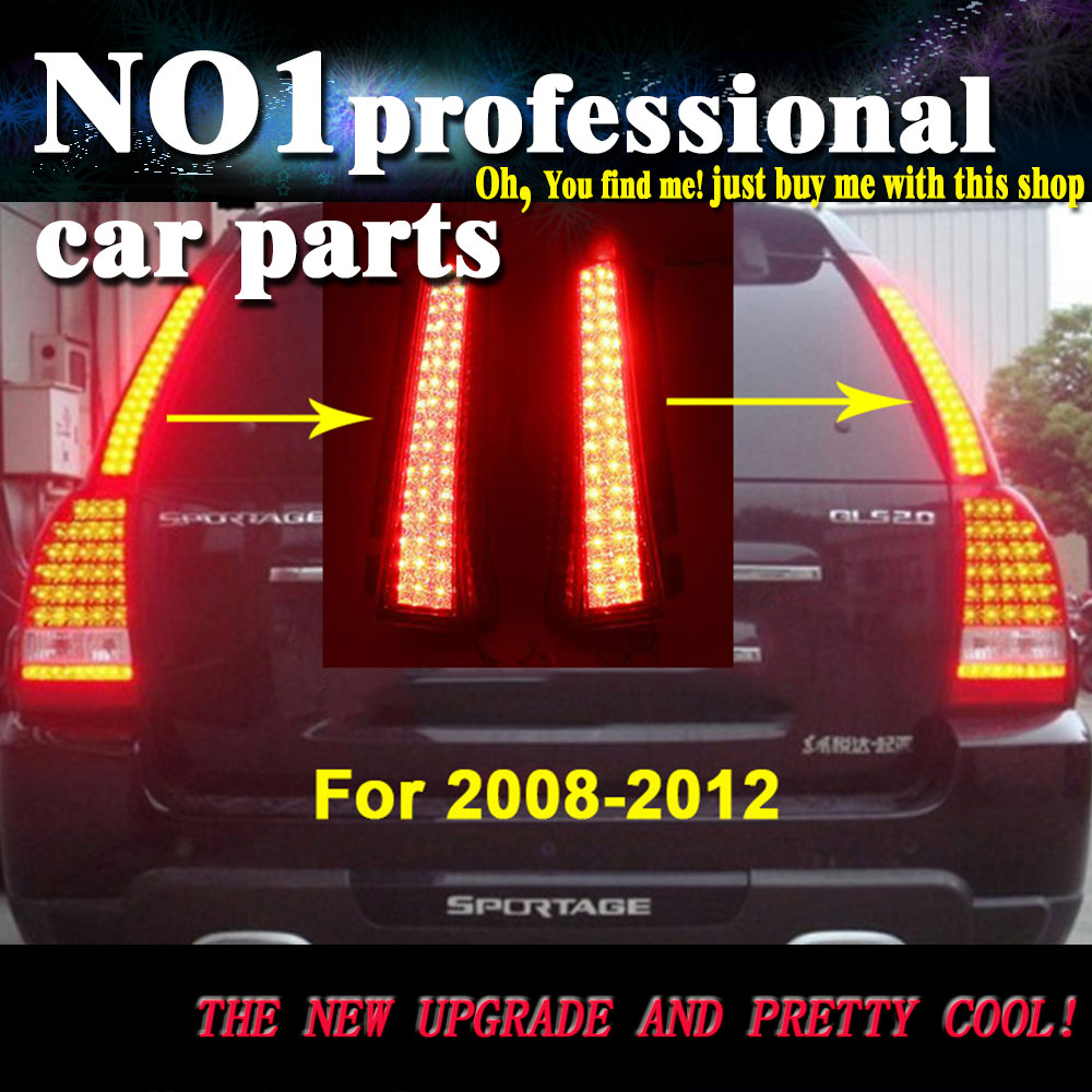 Car Styling  For Kia Sportage Tail lights 2008-2012 LED Tail Lamp rear trunk lamp cover drl+signal+brake+reverse 3 line car rear trunk security shield cargo cover for jeep compass 2007 2008 2009 2010 2011 high qualit auto accessories