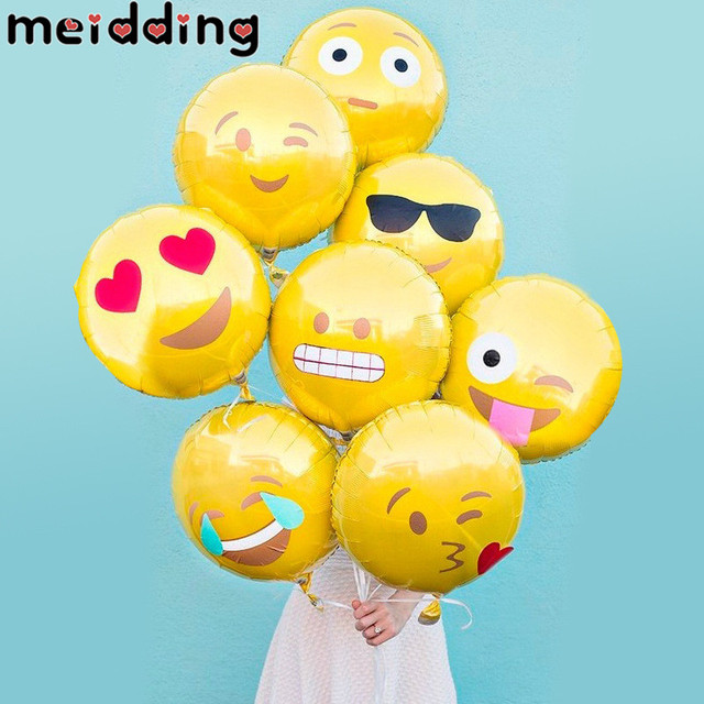 MEIDDING 1Pcs Happy Birthday Emoji Foil Balloons Party Baby Shower Balloon Wedding Decoration Supplies