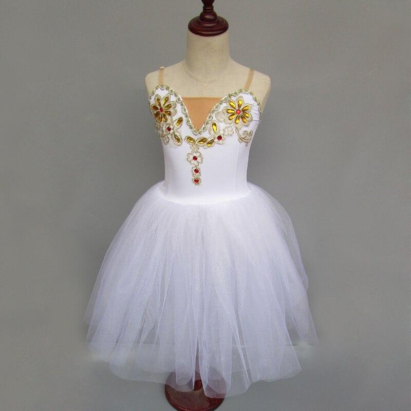 Robe Tutu romantique enfants classique Ballet Tutu enfant Costumes lac des cygnes robe de Ballerine blanche longue robe de Ballet en Tulle pour les filles