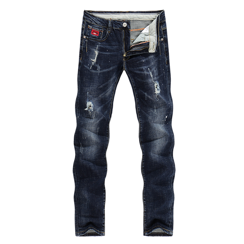KSTUN Jeans Men Spring and Autumn Ripped Distressed Straight Slim Painted Printed Stretch Biker