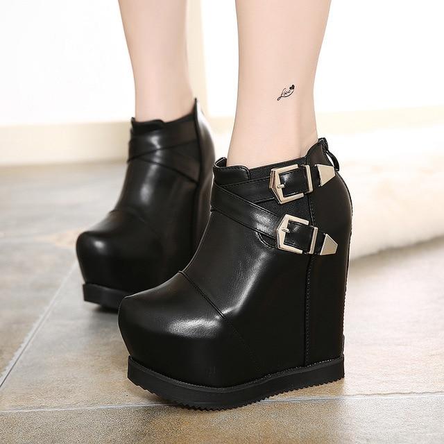 ba59cb4b16 Round Toe Wedge Boots Women Zipper 2016 Winter New Buckle Design Ultra High  Heels Ankle Boots Black Platform Botines Mujer