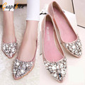 Guapabien New Glitter Rhinestion Crystal Pointed Toe Women Flat Shoes Solid PU Leather Women Shoes Slip On Ballet Princess Shoes