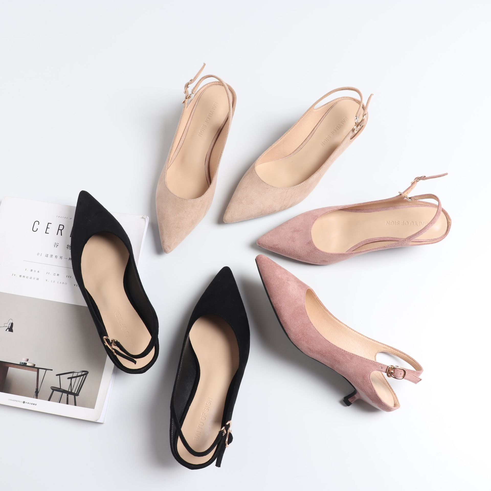Ladies Slingbacks High Heels Shoes Woman 2019 Spring Flock Pointed Toe Casual High Pumps High Heels Female Wedding Sandals Pumps