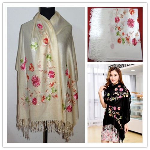44ccffb8c New Chinese Lady's Soft Cashmere Pashmina Embroidered Shawls/Scarves/Wrap  Champagne/White/Black