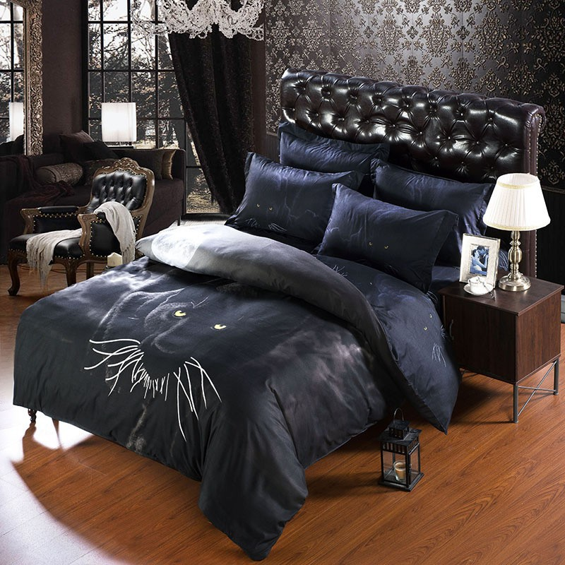 2017 special offer new 7 pcs pcs personality panther bedding sets sets luxury. Black Bedroom Furniture Sets. Home Design Ideas