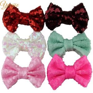 """Image 5 - DHL gratuit 300 pcs/lot 3 """"paillettes nœud sans pinces à cheveux filles solide minuscule paillettes cheveux arc pour enfants bricolage bandeaux cheveux accessoires"""