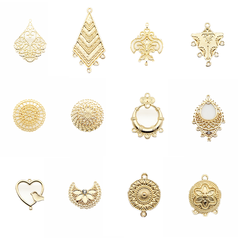 Gold Geometric Metal Charm Pendants Jewelry Making Accessories Diy Materials For Earrings Connectors Supplies