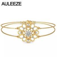 Test Positive Real Diamond Engagement Bracelets Solid 14K Yellow Gold Natural Diamond Heart Bracelets Wedding Christmas