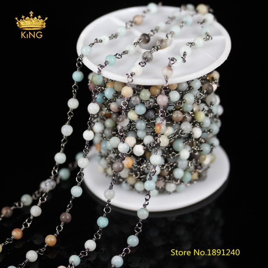 5 mètres, chaînes de perles rondes Amazonite lisse pour les résultats de bijoux, 4mm fil enroulé pistolet noir plaqué liens chaînes Bracelet ZJ-72