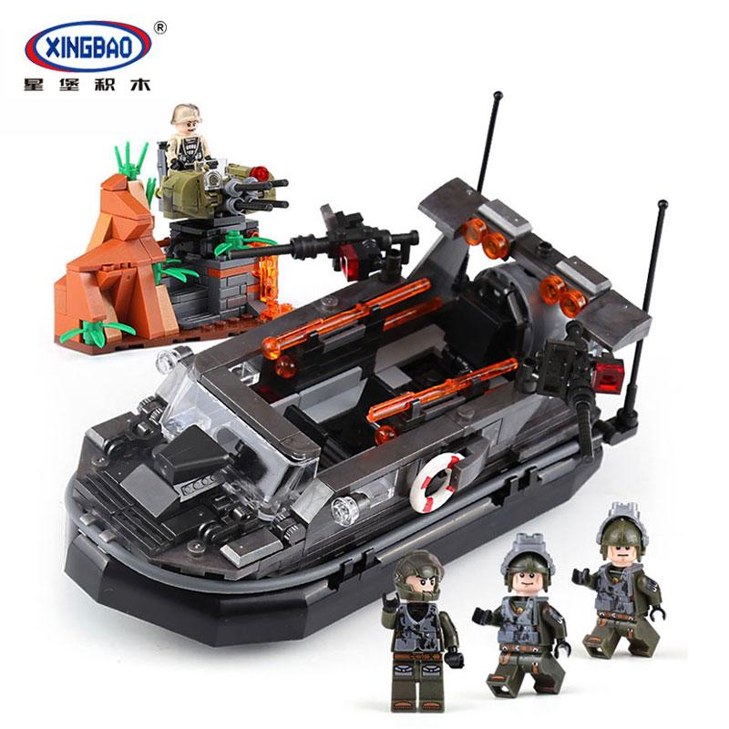 XingBao 06017 blocs 588 pièces série militaire autobloquant le bateau d'assaut ensemble blocs de construction briques jouets éducatifs modèle cadeau