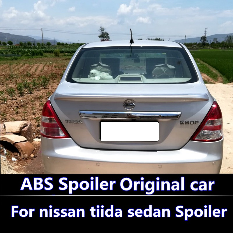 For 2011 2015 nissan tiida sedan Spoiler High Quality ABS Material Car Rear Wing Primer Color Rear Spoiler For Tiida spoiler