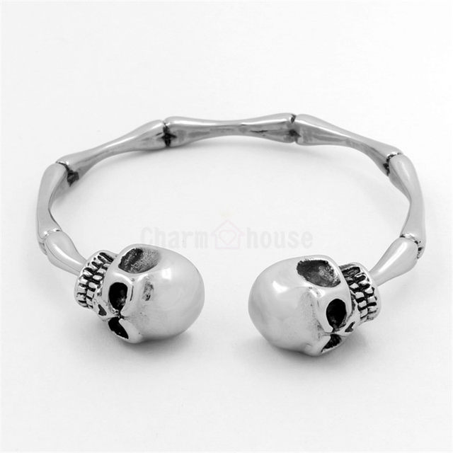Online Shop Vintage Open Bracelets Men Titanium Steel Double Skull