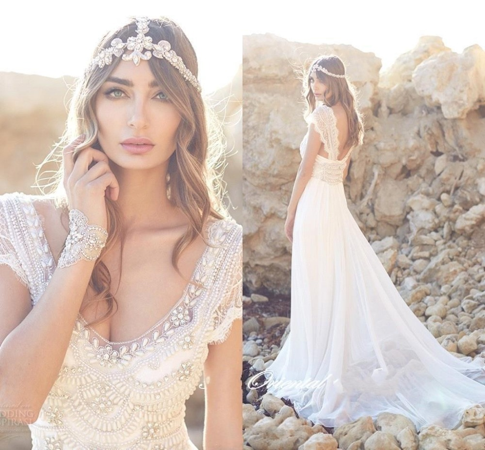 anna campbell summer boho wedding dress 2017 bohemian beach bridal gowns lace cap sleeves deep v