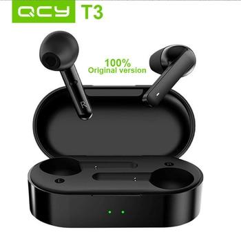 Original QCY T3 TWS Wireless Bluetooth 5.0 Earphone HiFi AptX 4 CVC DSP Noise Cancelling Smart Touch Headphone With Charging Box gear shift