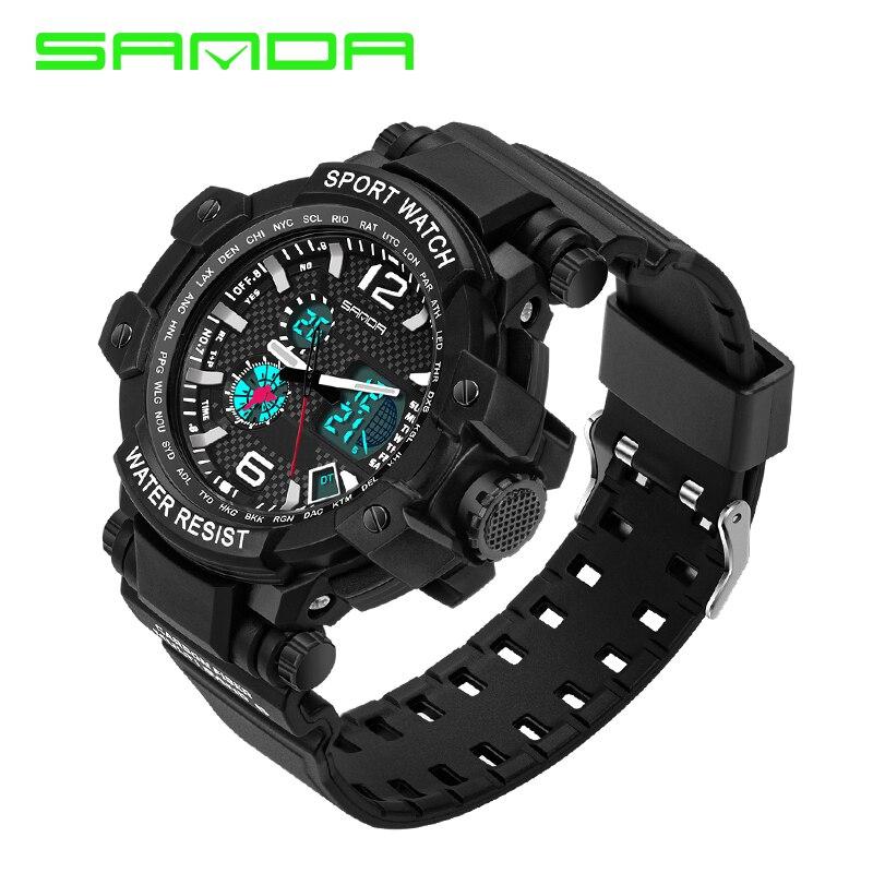 2016 Men s Quartz Digital Watch Men Sports Watches Relogio Masculino SANDA S Shock Relojes LED