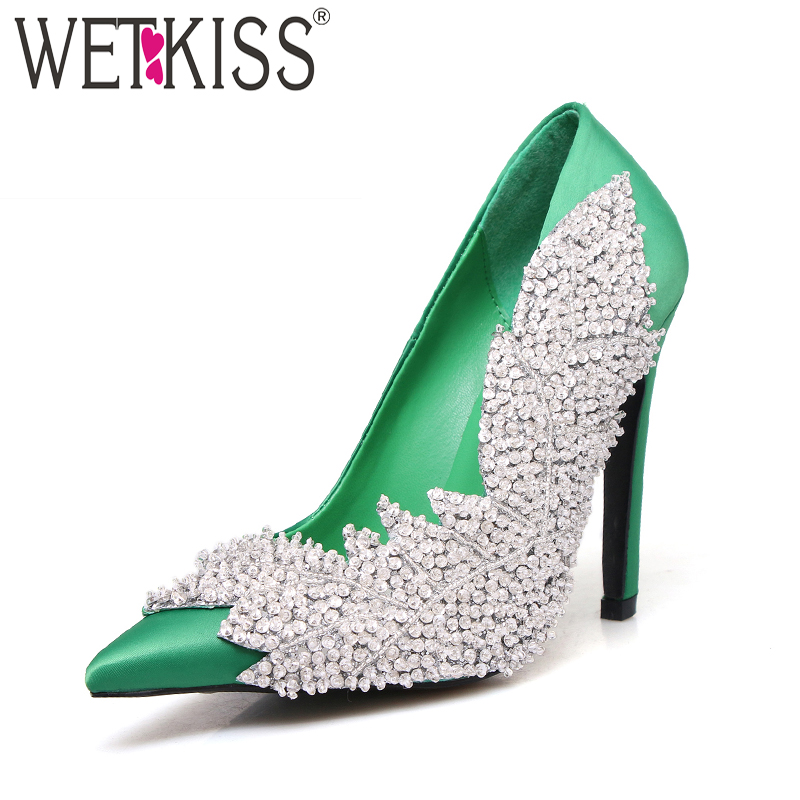 WETKISS New High Heels Women Pumps 2018 Brand Fashion Party Ladies Shoes Pointed Toe Crystal Thin Heels Shallow Slip On Footwear sexy pointed toe thin high heels women party shoes new fashion patchwork slip on shallow mouth women pumps ladies evening shoes
