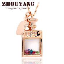 ZYN549 Transparent Perfume bottle Rose Gold Color Fashion Pendant Necklace Jewelry Made with Austria Crystal Wholesale