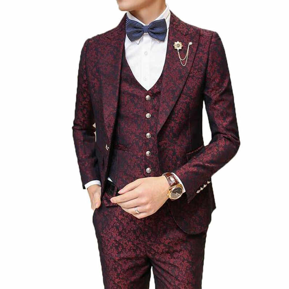 Male Suit With Pants Wedding Groom Prom Suits for Men Burgundy Floral Jacquard Slim Fit 3 Pieces / Set ( Jacket + Vest+Pants)
