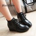 2017 sapatos primavera outono mulheres rendas até ankle boots preta moda mulheres wedge botas senhoras sapatos de couro botas de neve mais tamanho