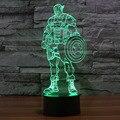7 Colores Luz de La Noche 3D Capitán América Colorida Lámpara de Luminaria Led Night Lights iluminación Decorativa de regalo para niños IY803343