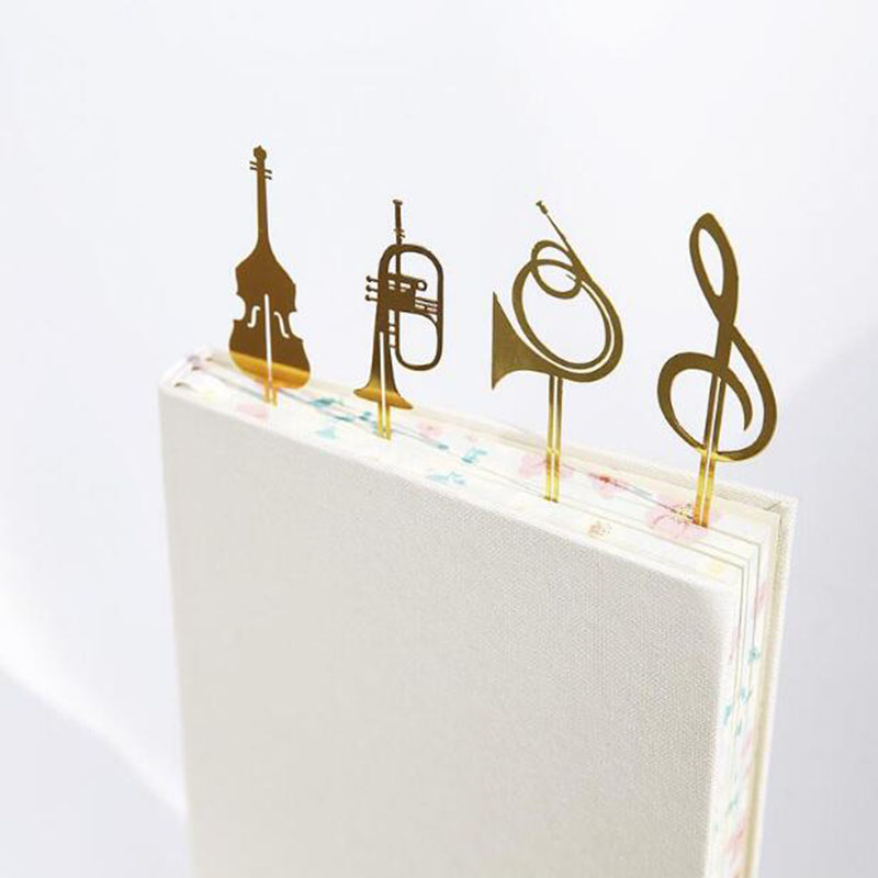 Trendy Western Musical Instruments Creative Metal Music Bookmarks Books Bookmarks Office Learning Stationery Business Gifts