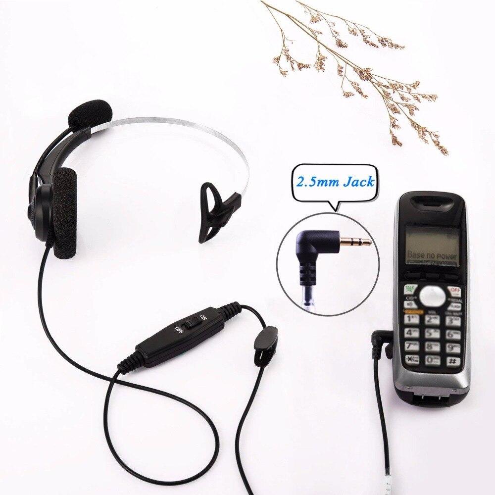 Wantek Arama Cordless Phone Headphones,2.5MM Telephone Headset with Noise Cancelling Boom Mic for Panasonic Dect Phones-Binaural 4