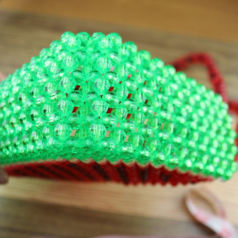 Sac de perles fait main femme sac de perles Bolsa Feminina sac à main sac de soirée rétro chemise poignée perle motif pastèque rouge sac à main - 5