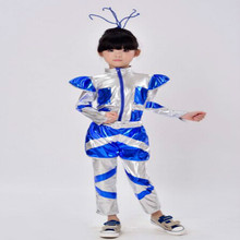 цены Children's costumes dance robot astronaut performance space dance show time for kids clothing unisex dance clothes 110-150cm