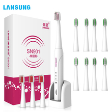 Lansung Sonic Electric Toothbrush Rechargeable Adult Ultrasonic Automatic Toothbrush Heads Smart Whitening 12 Brush Heads free dhl or ems rechargeable ultrasonic intelligent adult electric with antibacterial silicone brush fully automatic toothbrush