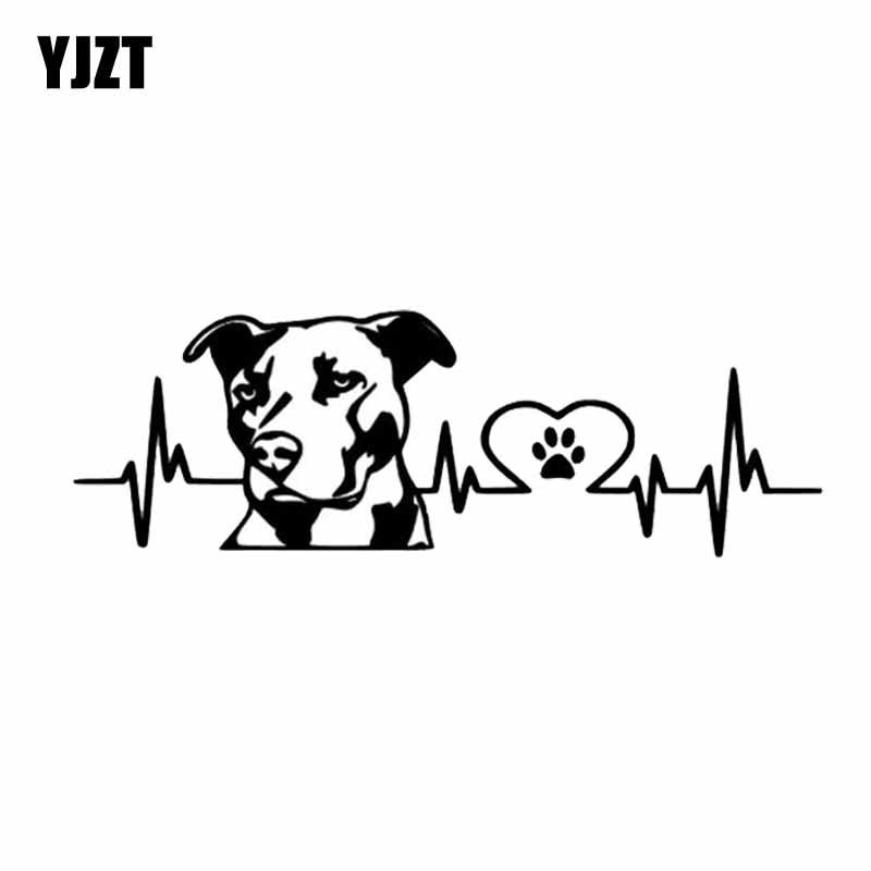 YJZT 20CM*6.7CM Personality Pitbull Love Car Styling Car Sticker Decoration Black/Silver C2-3262