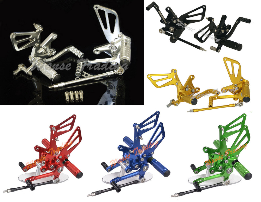 waase CNC Adjustable Rider Rear Sets Rearset Footrest Foot Rest Pegs For SUZUKI SV1000 SV1000S 2003 2004 2005 2006 2007