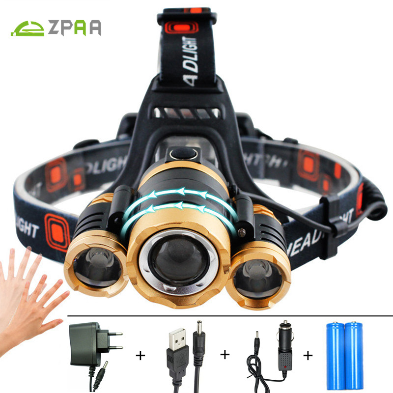 ZPAA 12000 lumens Rechargeable LED Headlamp T6 Head Flashlight Torch Zoomable cree xml T6 LED head lamp 18650 Induction lights t6 xpe led head lamp 50w zoomable headlamp 5leds headlight tube torch led flashlight car charger 18650 batteries high lights