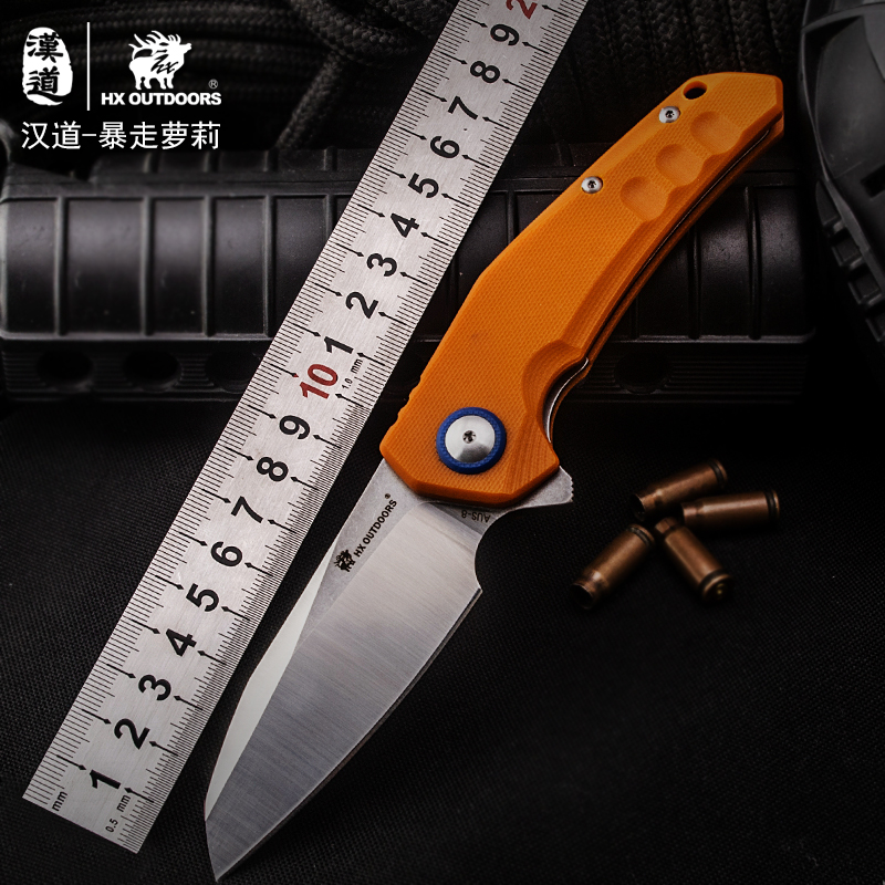 HX OUTDOORS Folding Knives KNIFE AUS 8 Blade Steel G10 Handle Knife Camping Survival Pocket Outdoor