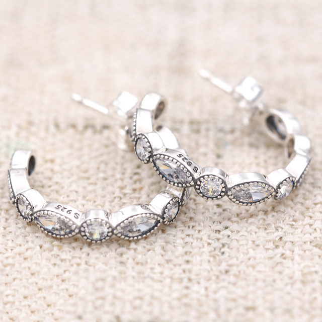 b807a8e75 Authentic 925 Sterling Silver Earring Alluring Brilliant Marquise Studs  Earrings For Women Wedding Gift Fine Europe Jewelry